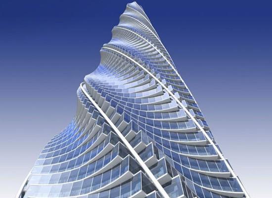 ,原定于2012年完工,不过目前已经处于停工状态。建成之后,它将是北美最高的建筑物。此整座大厦呈螺旋上升形状,每层楼旋转2度,并且随着大厦楼层的升高,楼层的宽度则随高度递减,整座大厦外形如同一把 锥形的长剑。设计师表示,建设这栋楼的灵感来自于在一个美洲土著的焰火堆里看到的盘旋上升的烟雾。